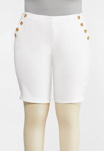 Plus Size White Bermuda Shorts