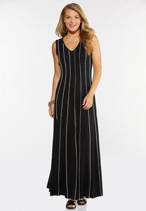 Plus Size Striped Seamed Maxi Dress