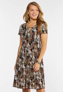 Embellished Geo Seamed Dress