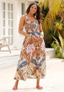 Smocked Patchwork Maxi Dress