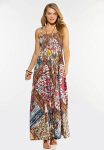 Plus Size Smocked Patchwork Maxi Dress