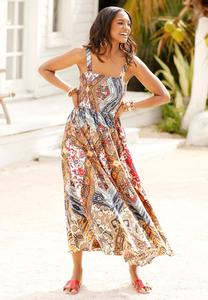 Plus Size Smocked Patchwork Maxi Dress