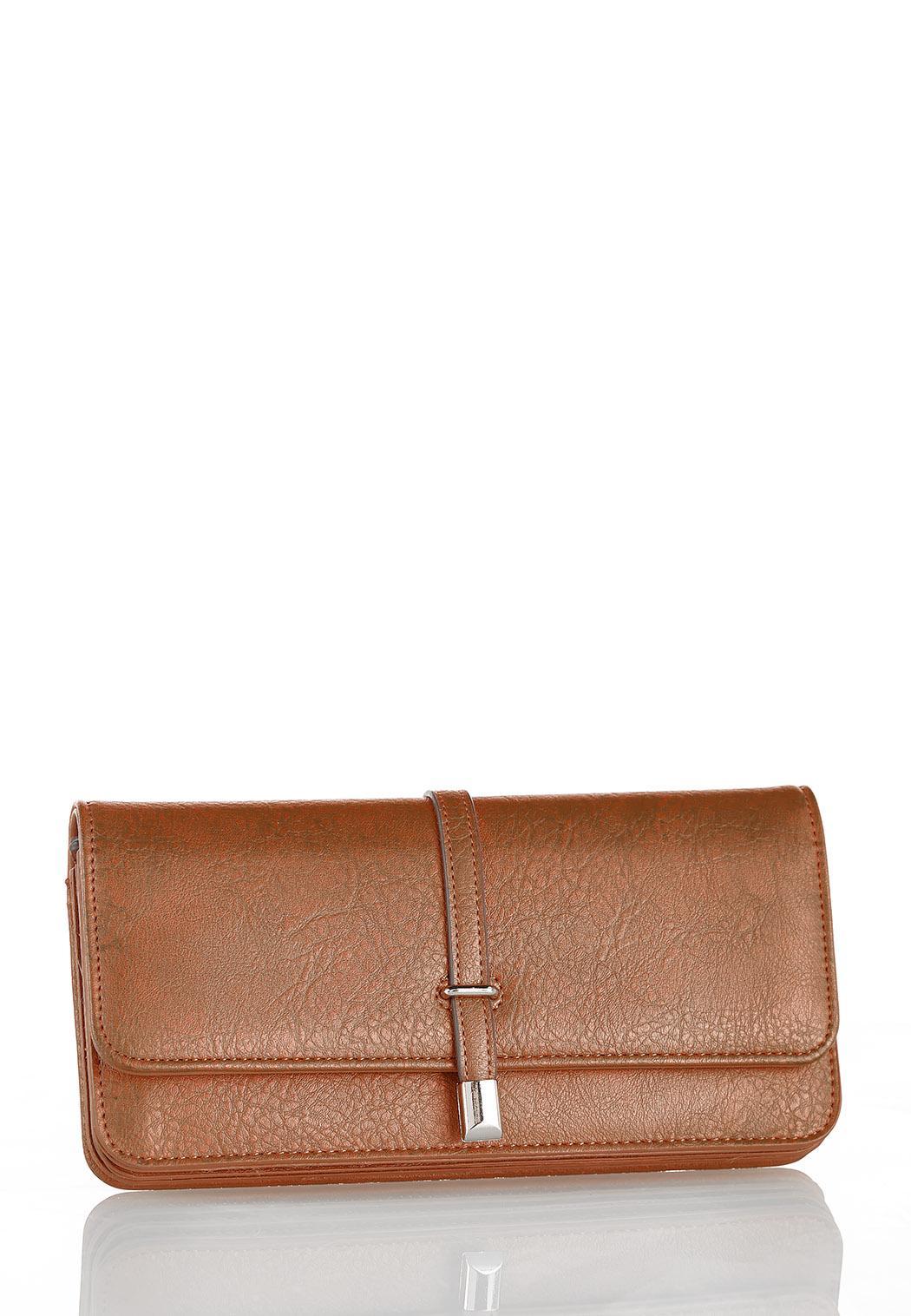 Metal Tab Cognac Wallet