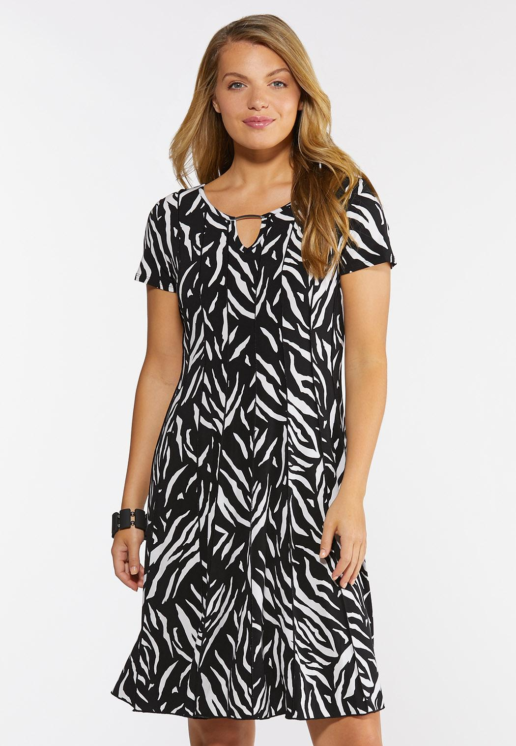 Plus Size Embellished Zebra Print Dress