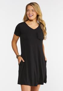 Plus Size Ruffled Pocket Shirt Dress
