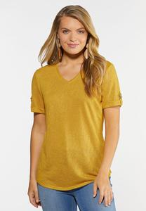 Solid V-Neck Hacci Top