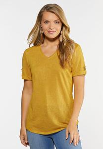 Plus Size Solid V-Neck Hacci Top