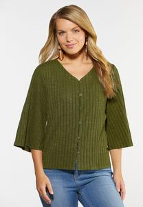 Plus Size Green Ribbed Bell Sleeve Top