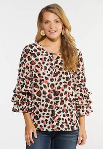Blushing Leopard Print Top