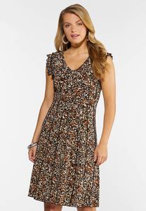 Seamed Ruffled Sleeve Dress