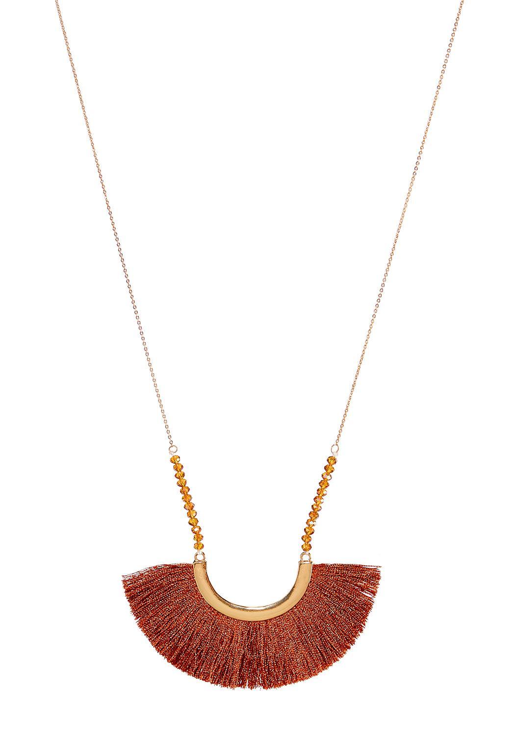 Red Fringe Pendant Necklace