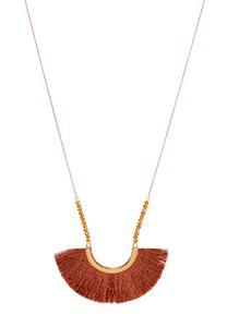 Red Fringe Pendant Necklace