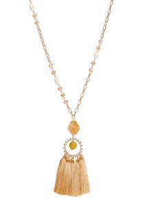 Rondelle Bead Tassel Necklace