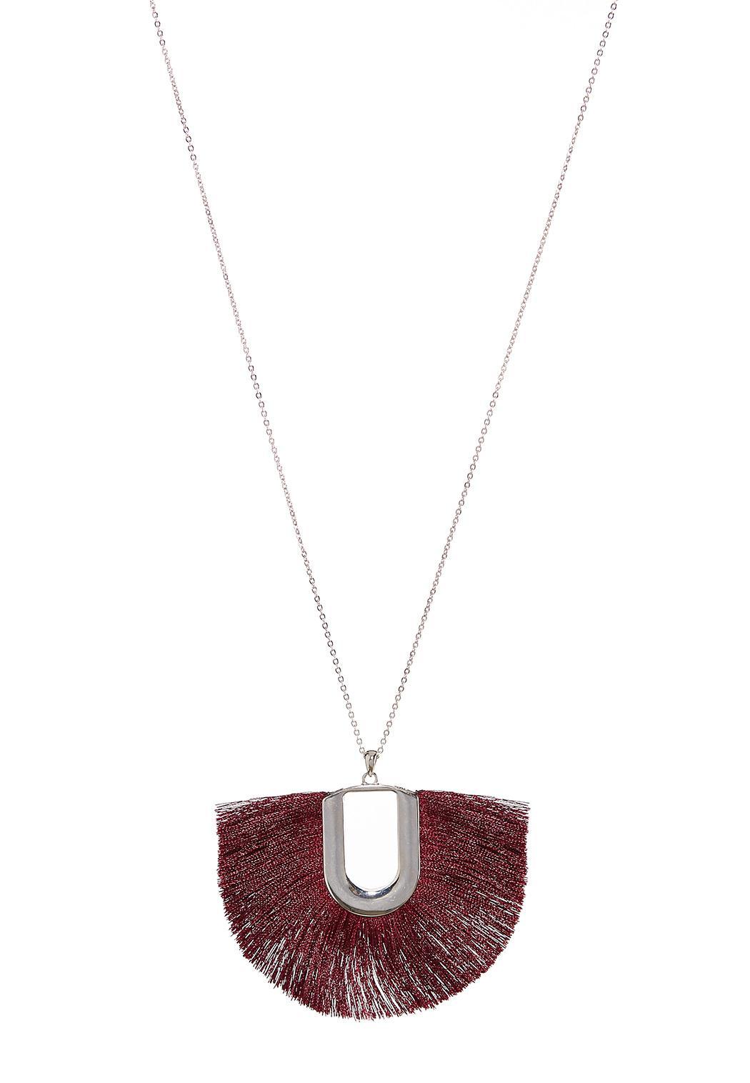 Wine Tassel Pendant Necklace