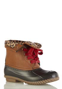 Leopard Cuff Duck Boot