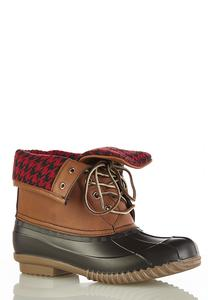 Buffalo Plaid Cuff Duck Boots