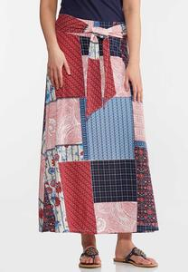 Plus Size Patchwork Tie Front Maxi Skirt