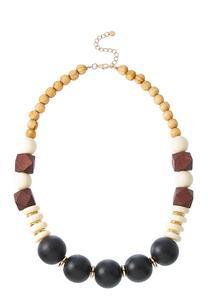 Mixed Wood Acrylic Bead Necklace
