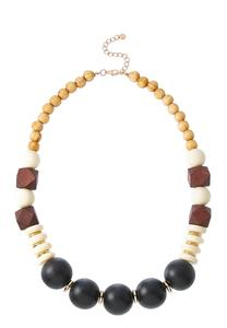 Mixed Wood Acrylic Bead Necklace