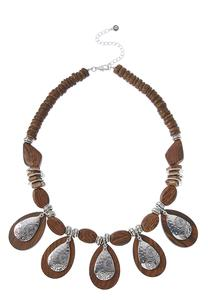 Hammered Metal Wood Necklace