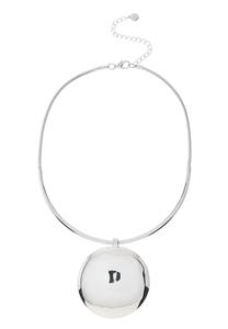 Silver Disk Statement Necklace
