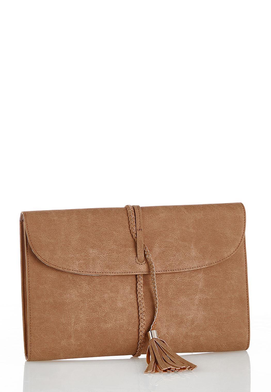 Braid Strap Tassel Clutch