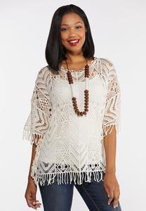 Plus Size Fringe Crochet Top