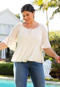 Ivory Tiered Poet Top