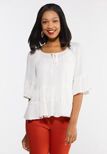 Plus Size Ivory Tiered Poet Top