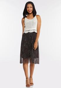 Printed Mesh Crochet Top Dress