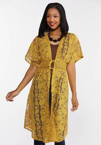 Plus Size Gold Lace Kimono