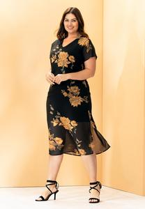 Plus Size Rose Garden Chiffon Dress