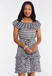 Tiered Houndstooth Dress