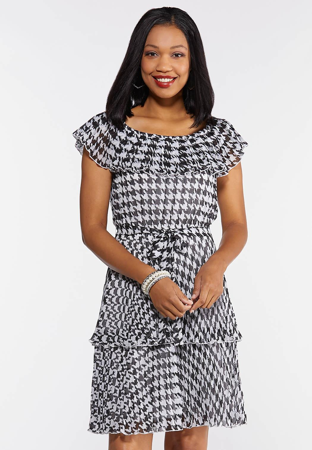 Plus Size Tiered Houndstooth Dress