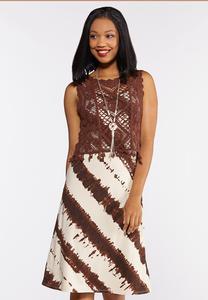 Tie Dye Slip Dress with Crochet Tank