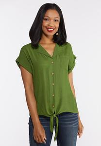 Collared Linen Top