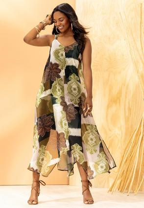 Plus Size Chiffon Hanky Hem Dress