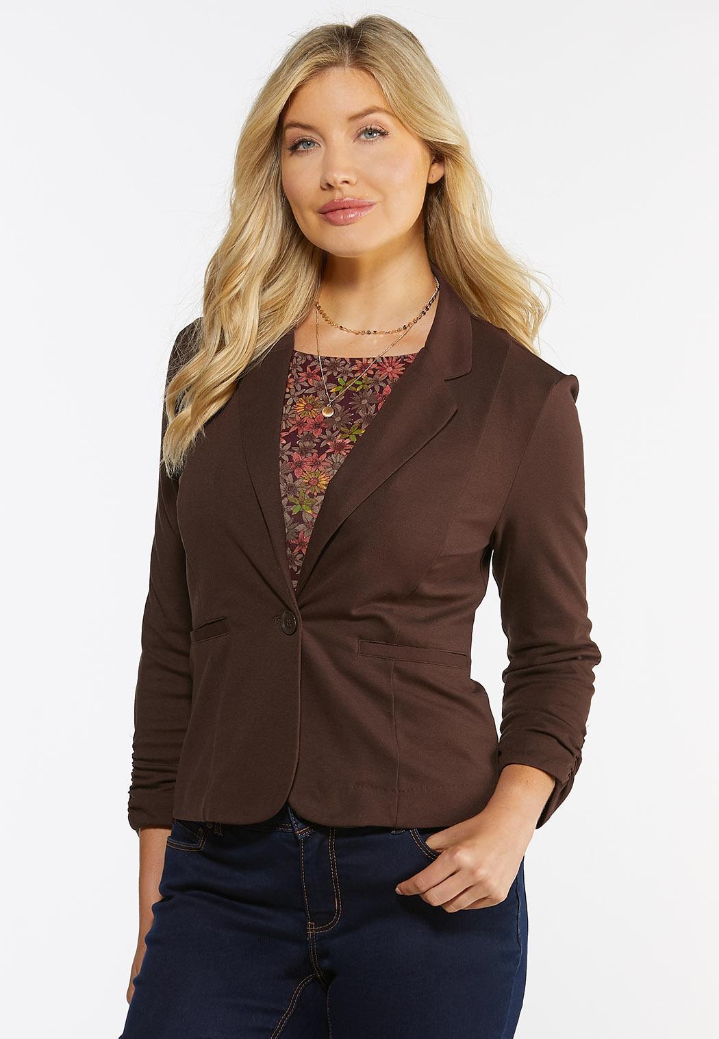 Plus Size Ruched Sleeve Ponte Knit Blazer