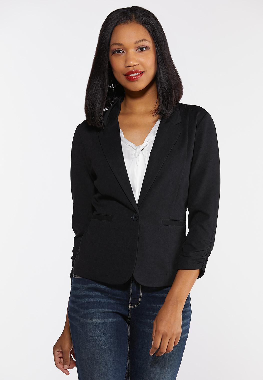 Plus Size Ruched Sleeve Knit Blazer