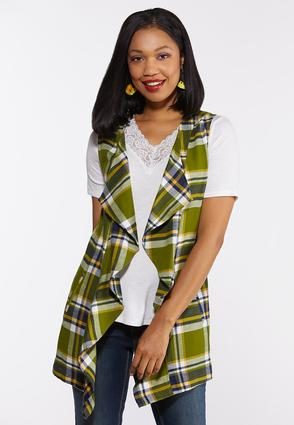 Plus Size Plaid Waterfall Vest