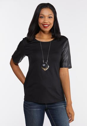 Plus Size Faux Leather Sleeve Tee