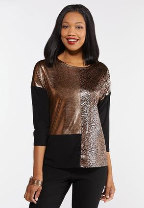 Plus Size Metallic Leopard Colorblock Top