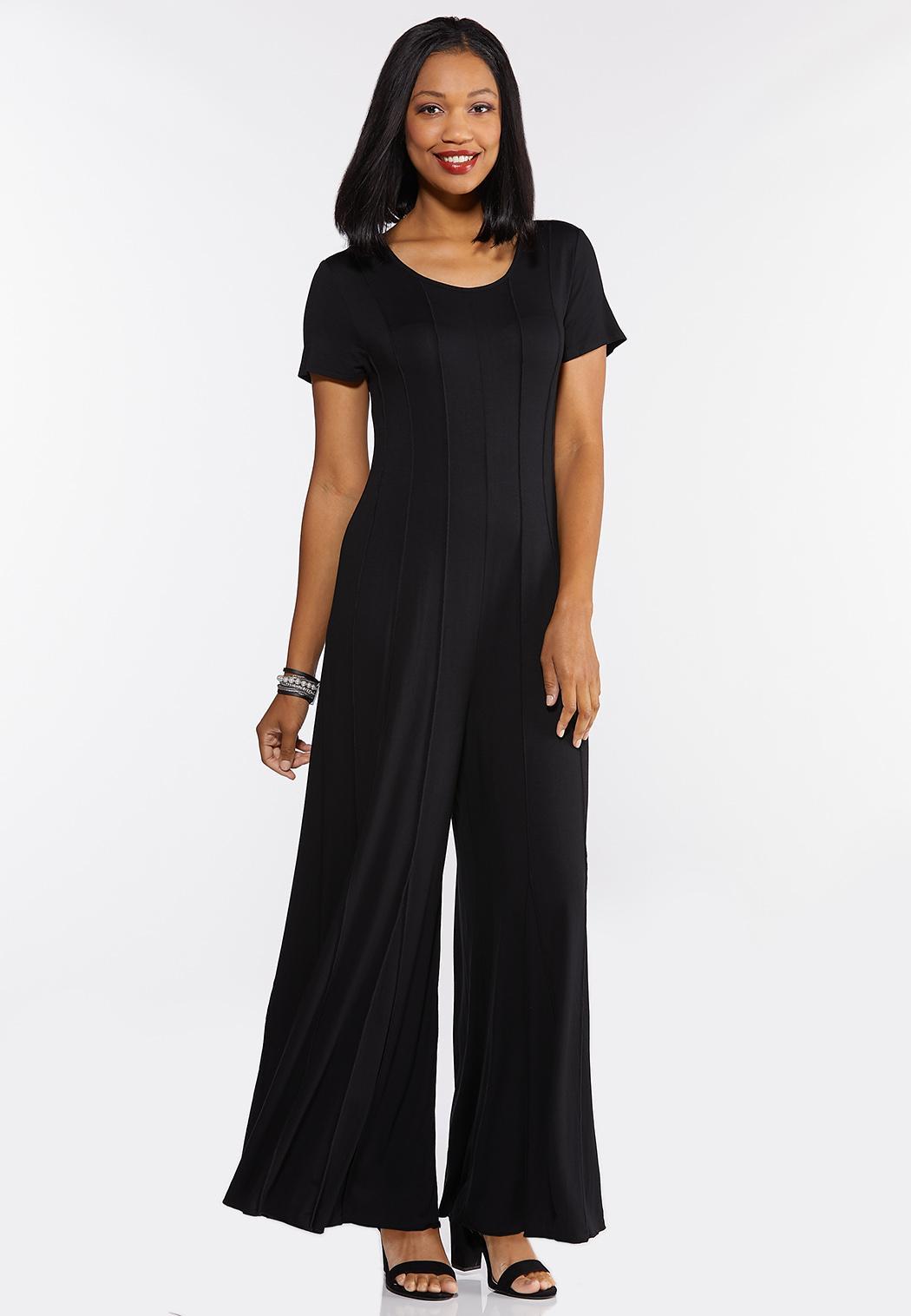 Plus Size Seamed Black Jumpsuit