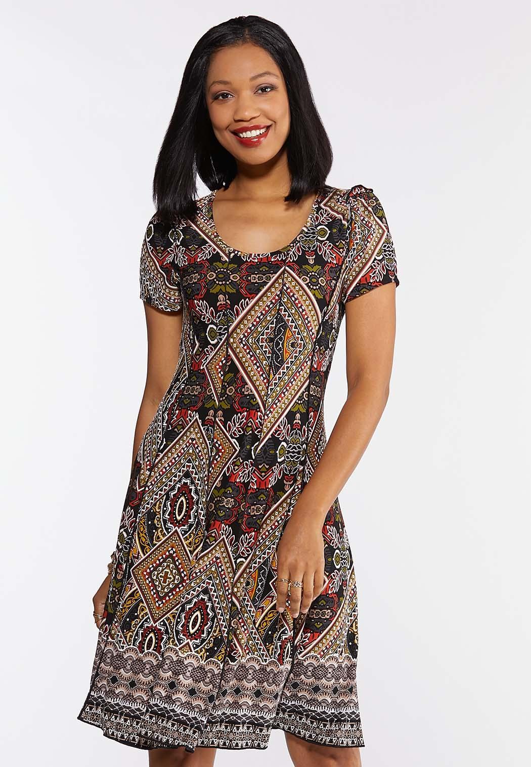 Tribal Seamed Textured Dress