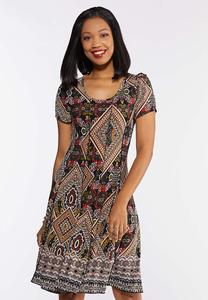 Plus Size Tribal Seamed Textured Dress