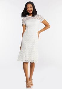 Plus Size Lace Midi Dress