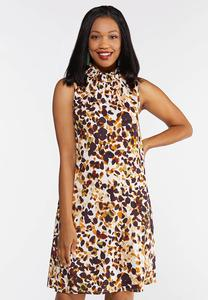 Plus Size Safari Dot Mock Neck Dress
