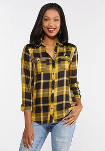 Gold Plaid Button Down Shirt