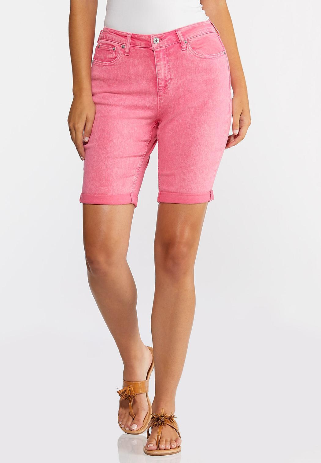 Pink Denim Bermuda Shorts