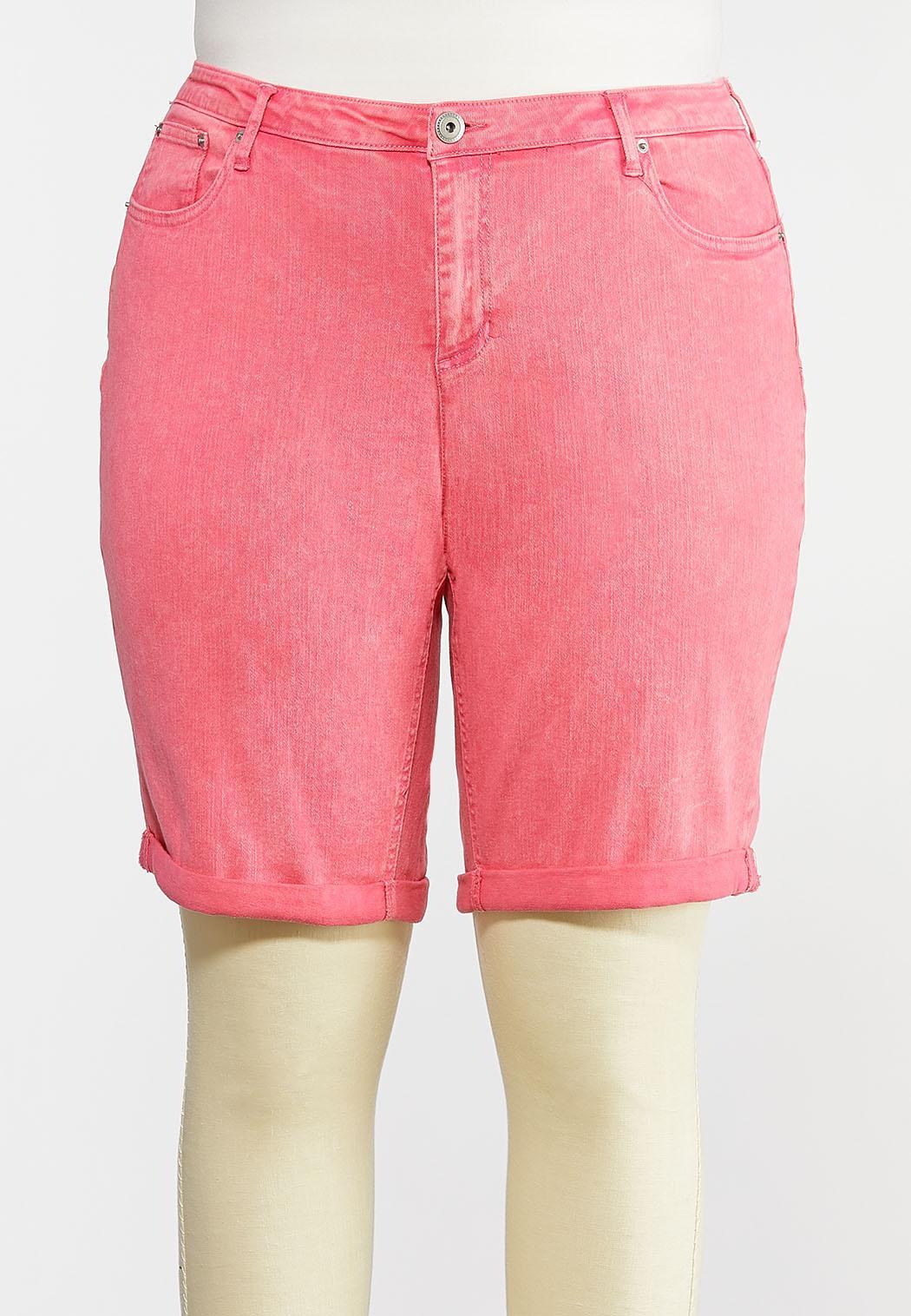 Plus Size Pink Denim Bermuda Shorts